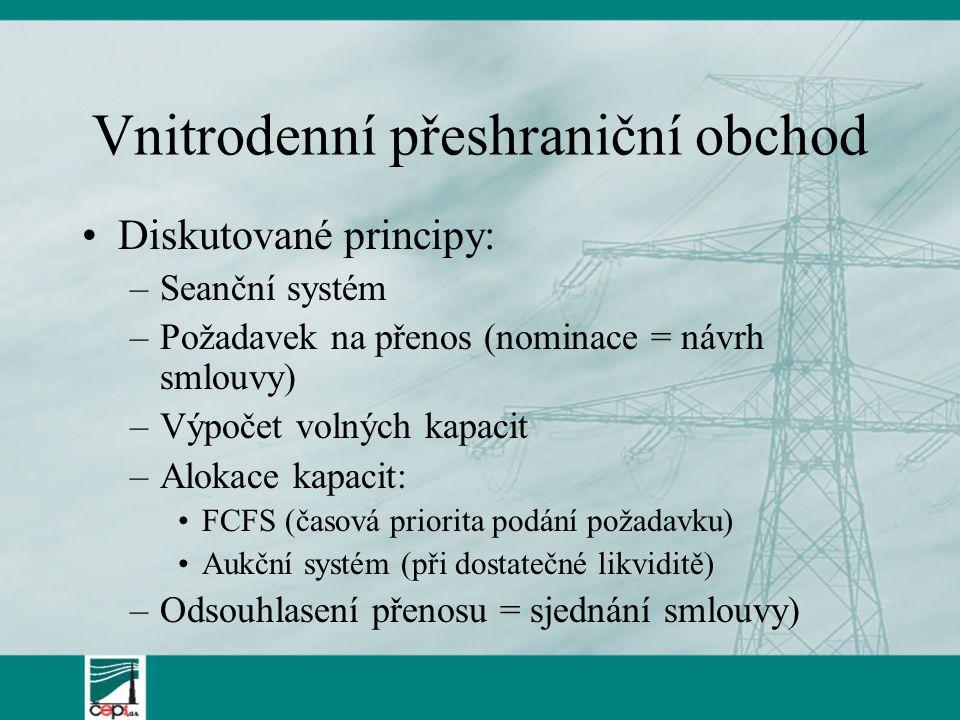 Vnitrodenní přeshraniční obchod Diskutované principy: –Seanční systém –Požadavek na přenos (nominace = návrh smlouvy) –Výpočet volných kapacit –Alokace kapacit: FCFS (časová priorita podání požadavku) Aukční systém (při dostatečné likviditě) –Odsouhlasení přenosu = sjednání smlouvy)