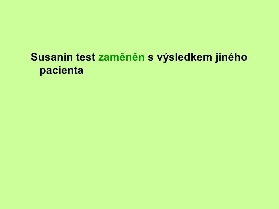 Susanin test zaměněn s výsledkem jiného pacienta