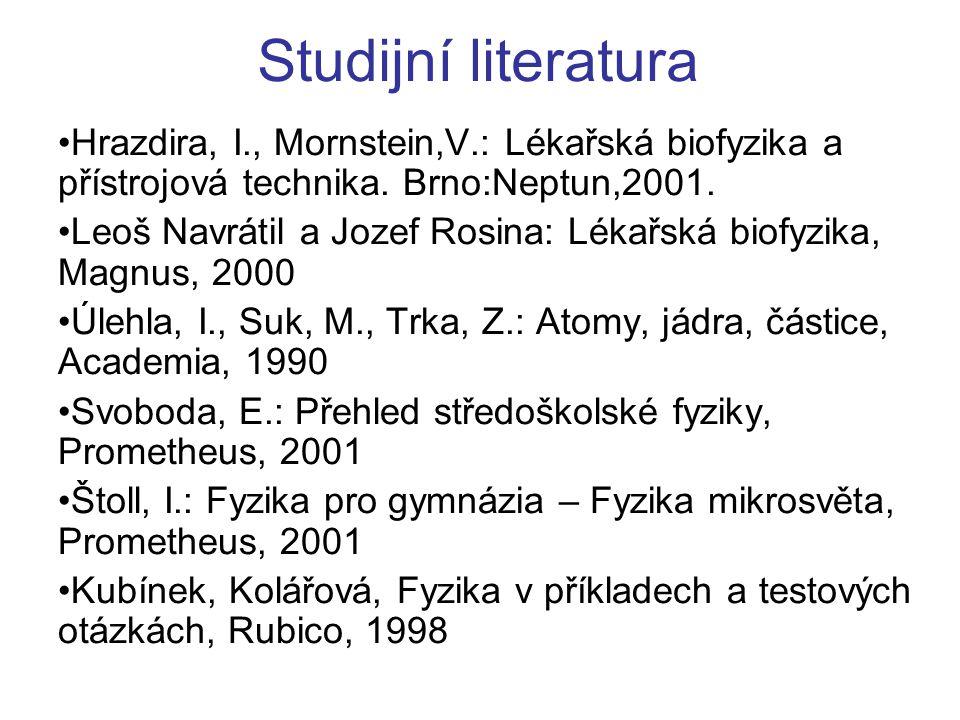 Studijní literatura Hrazdira, I., Mornstein,V.: Lékařská biofyzika a přístrojová technika. Brno:Neptun,2001. Leoš Navrátil a Jozef Rosina: Lékařská bi