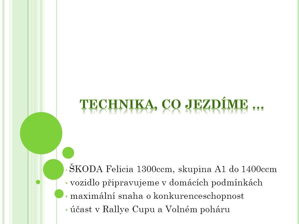 ŠKODA Felicia 1300ccm, skupina A1 do 1400ccm vozidlo připravujeme v domácích podmínkách maximální snaha o konkurenceschopnost účast v Rallye Cupu a Vo