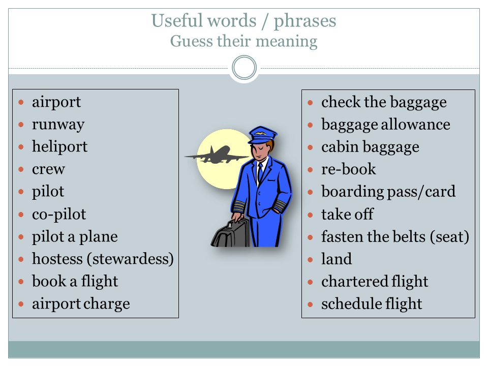 Useful words / phrases Guess their meaning airport runway heliport crew pilot co-pilot pilot a plane hostess (stewardess) book a flight airport charge