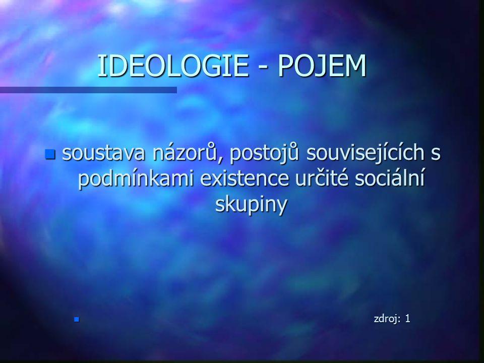 IDEOLOGIE - POJEM IDEOLOGIE - POJEM n soustava názorů, postojů souvisejících s podmínkami existence určité sociální skupiny n zdroj: 1