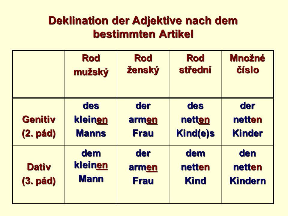 Ergänze die Tabelle.Rodmužský Rod ženský Rod střední Množné číslo Genitiv (2.