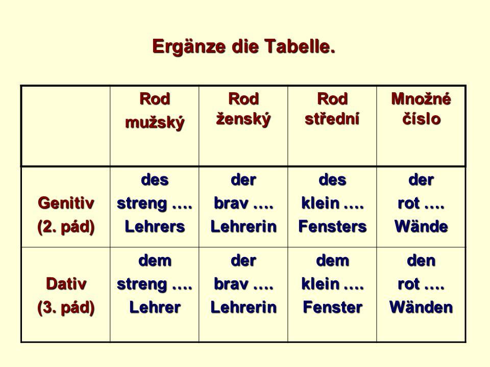Ergänze die Tabelle. Rodmužský Rod ženský Rod střední Množné číslo Genitiv (2.