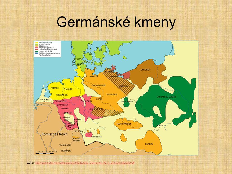 Germánské kmeny Zdroj: http://commons.wikimedia.org/wiki/File:Europa_Germanen_50_n_Chr.svg?uselang=dehttp://commons.wikimedia.org/wiki/File:Europa_Germanen_50_n_Chr.svg?uselang=de