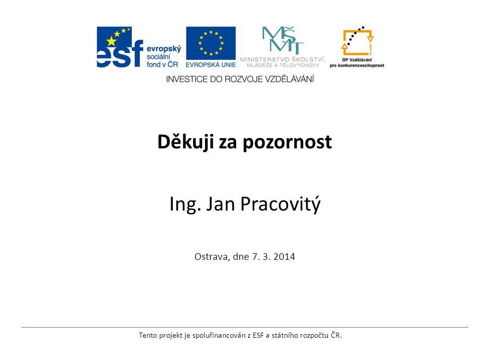 Děkuji za pozornost Ing. Jan Pracovitý Ostrava, dne 7.