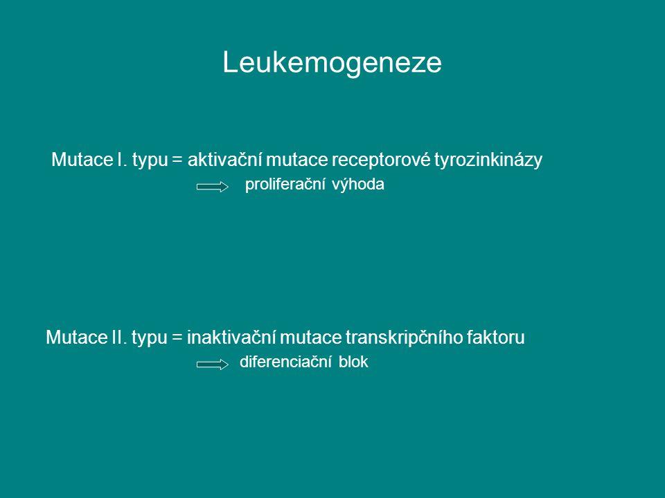 Leukemogeneze Mutace I. typu = aktivační mutace receptorové tyrozinkinázy proliferační výhoda Mutace II. typu = inaktivační mutace transkripčního fakt