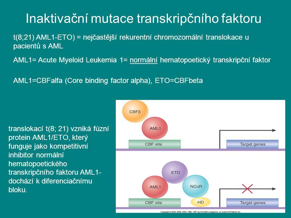 Inaktivační mutace transkripčního faktoru t(8;21) AML1-ETO) = nejčastější rekurentní chromozomální translokace u pacientů s AML translokací t(8; 21) v