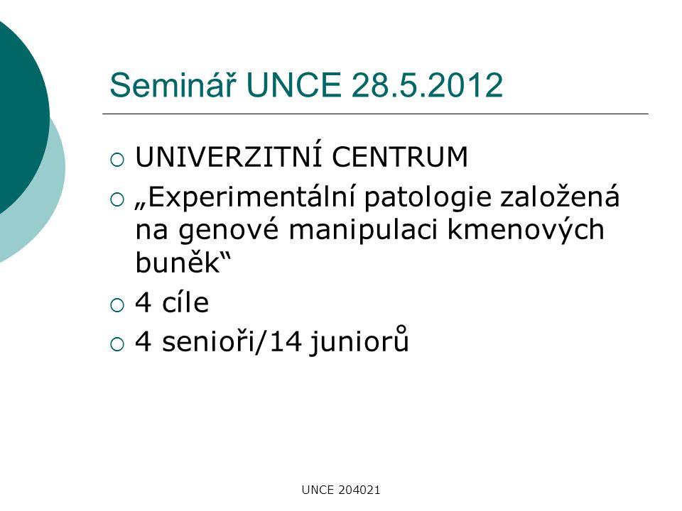 """UNCE 204021 Seminář UNCE 28.5.2012  UNIVERZITNÍ CENTRUM  """"Experimentální patologie založená na genové manipulaci kmenových buněk""""  4 cíle  4 senio"""