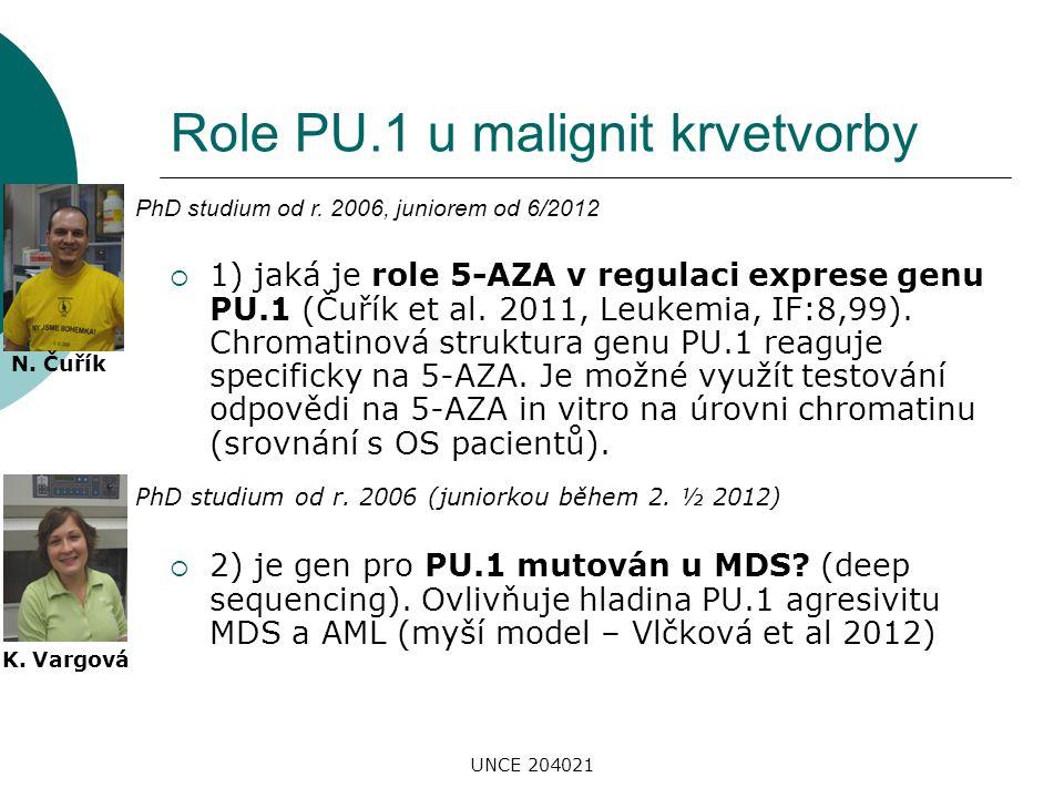 UNCE 204021 Role PU.1 u malignit krvetvorby  1) jaká je role 5-AZA v regulaci exprese genu PU.1 (Čuřík et al. 2011, Leukemia, IF:8,99). Chromatinová