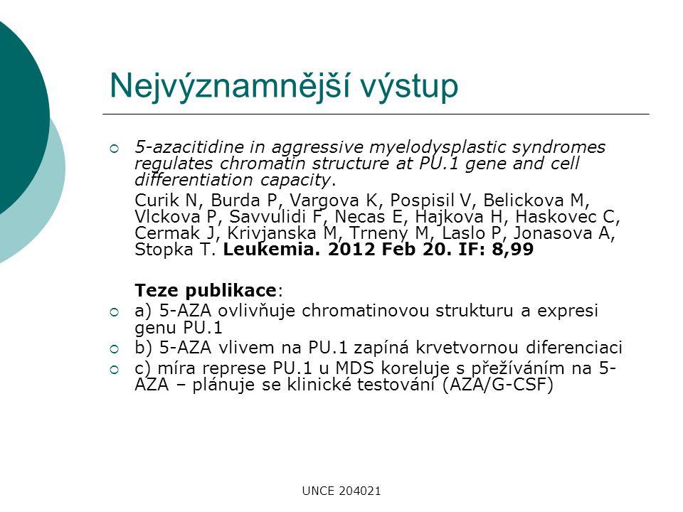 UNCE 204021 Nejvýznamnější výstup  5-azacitidine in aggressive myelodysplastic syndromes regulates chromatin structure at PU.1 gene and cell differen
