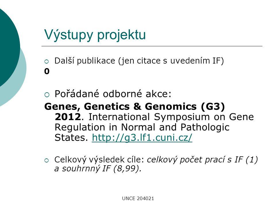 UNCE 204021 Výstupy projektu  Další publikace (jen citace s uvedením IF) 0  Pořádané odborné akce: Genes, Genetics & Genomics (G3) 2012. Internation