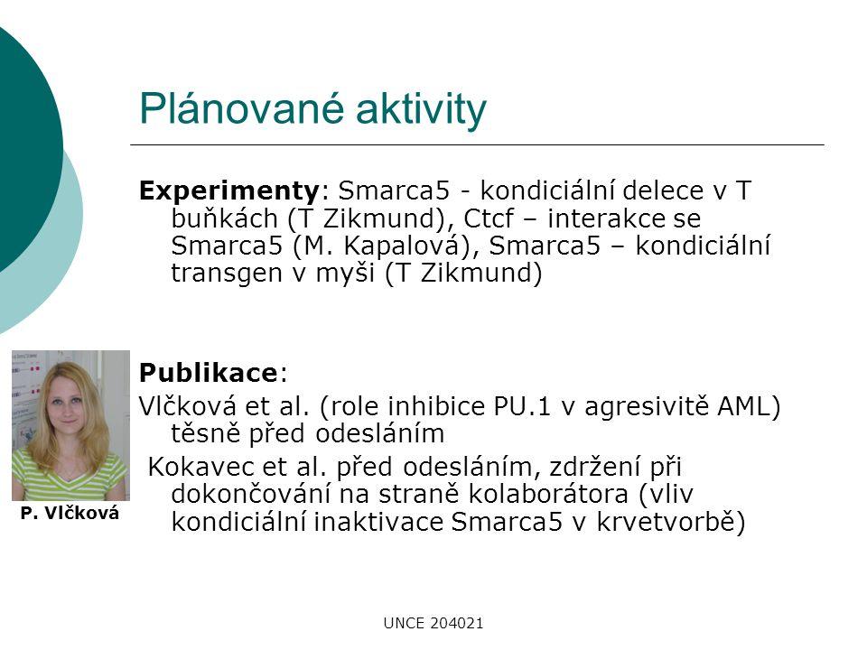 UNCE 204021 Plánované aktivity Experimenty: Smarca5 - kondiciální delece v T buňkách (T Zikmund), Ctcf – interakce se Smarca5 (M. Kapalová), Smarca5 –