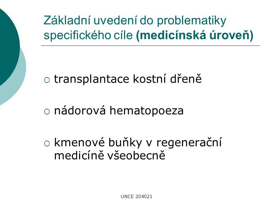 UNCE 204021 Základní uvedení do problematiky specifického cíle (medicínská úroveň)  transplantace kostní dřeně  nádorová hematopoeza  kmenové buňky