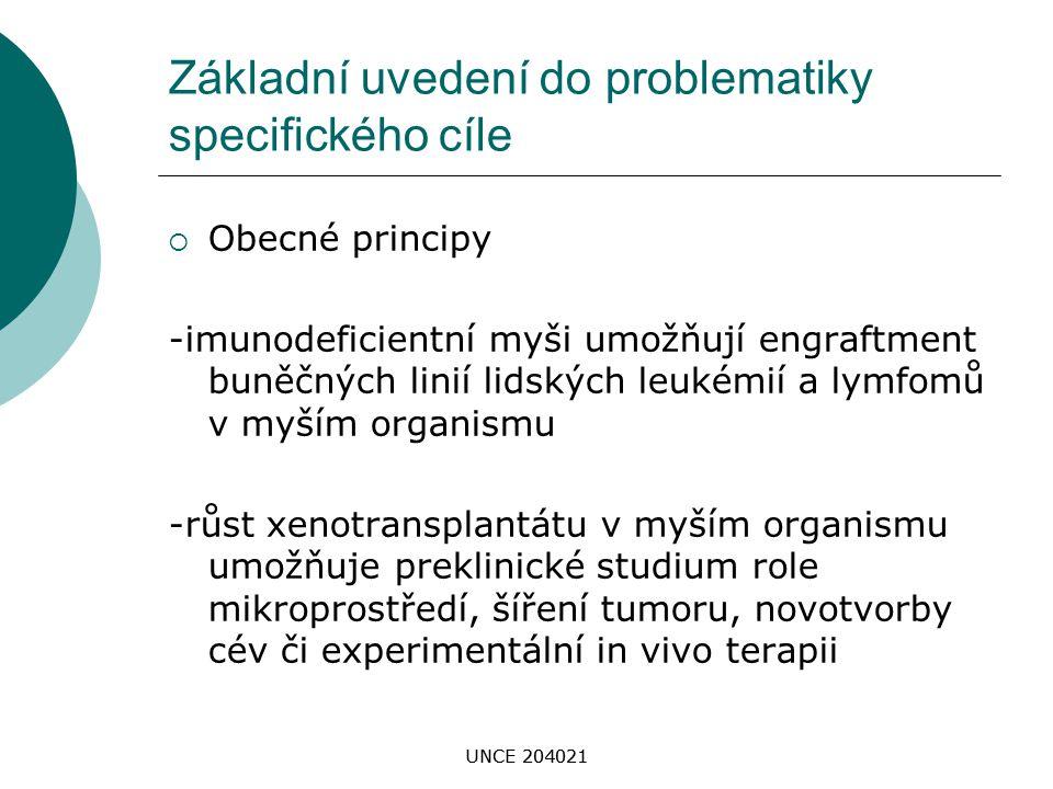 UNCE 204021 Základní uvedení do problematiky specifického cíle  Obecné principy -imunodeficientní myši umožňují engraftment buněčných linií lidských