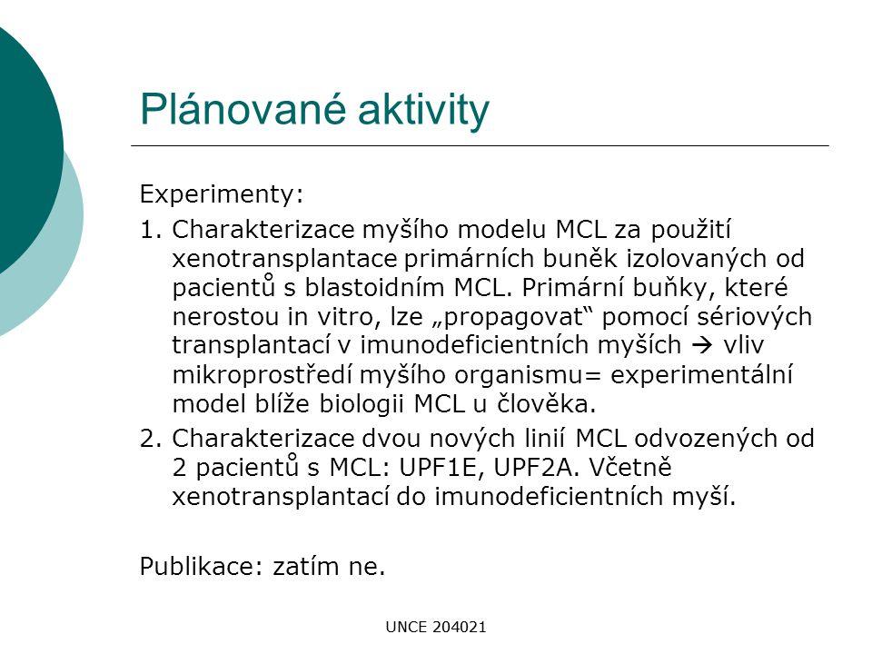 UNCE 204021 Plánované aktivity Experimenty: 1. Charakterizace myšího modelu MCL za použití xenotransplantace primárních buněk izolovaných od pacientů