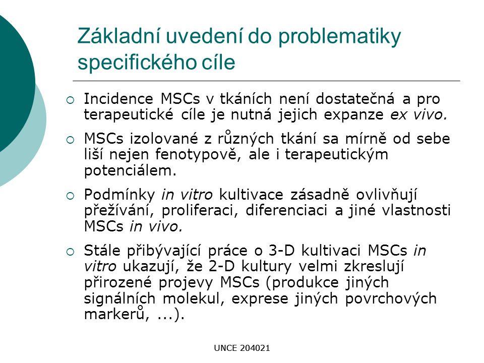 UNCE 204021 Základní uvedení do problematiky specifického cíle  Incidence MSCs v tkáních není dostatečná a pro terapeutické cíle je nutná jejich expa