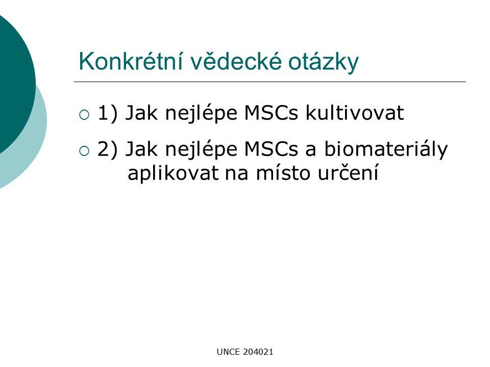 UNCE 204021 Konkrétní vědecké otázky  1) Jak nejlépe MSCs kultivovat  2) Jak nejlépe MSCs a biomateriály aplikovat na místo určení