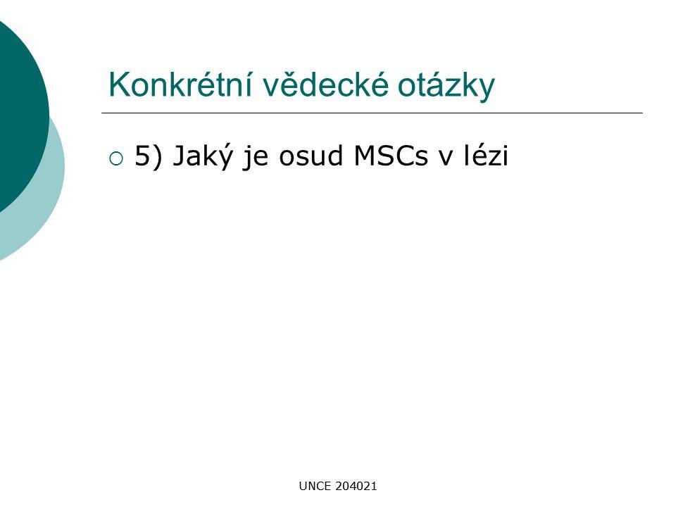UNCE 204021 Konkrétní vědecké otázky  5) Jaký je osud MSCs v lézi