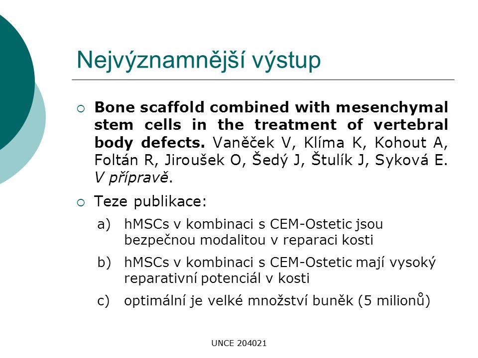UNCE 204021 Nejvýznamnější výstup  Bone scaffold combined with mesenchymal stem cells in the treatment of vertebral body defects. Vaněček V, Klíma K,