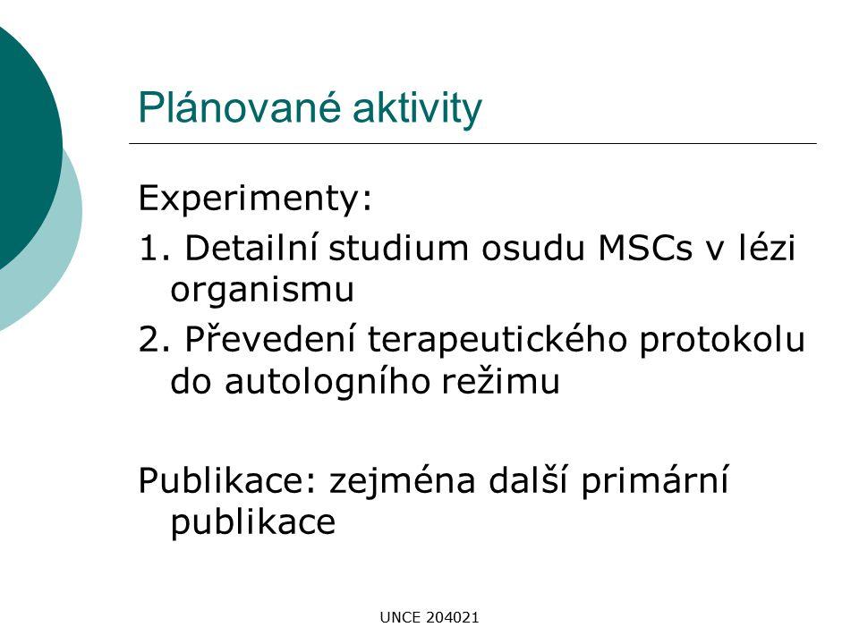 UNCE 204021 Plánované aktivity Experimenty: 1. Detailní studium osudu MSCs v lézi organismu 2. Převedení terapeutického protokolu do autologního režim
