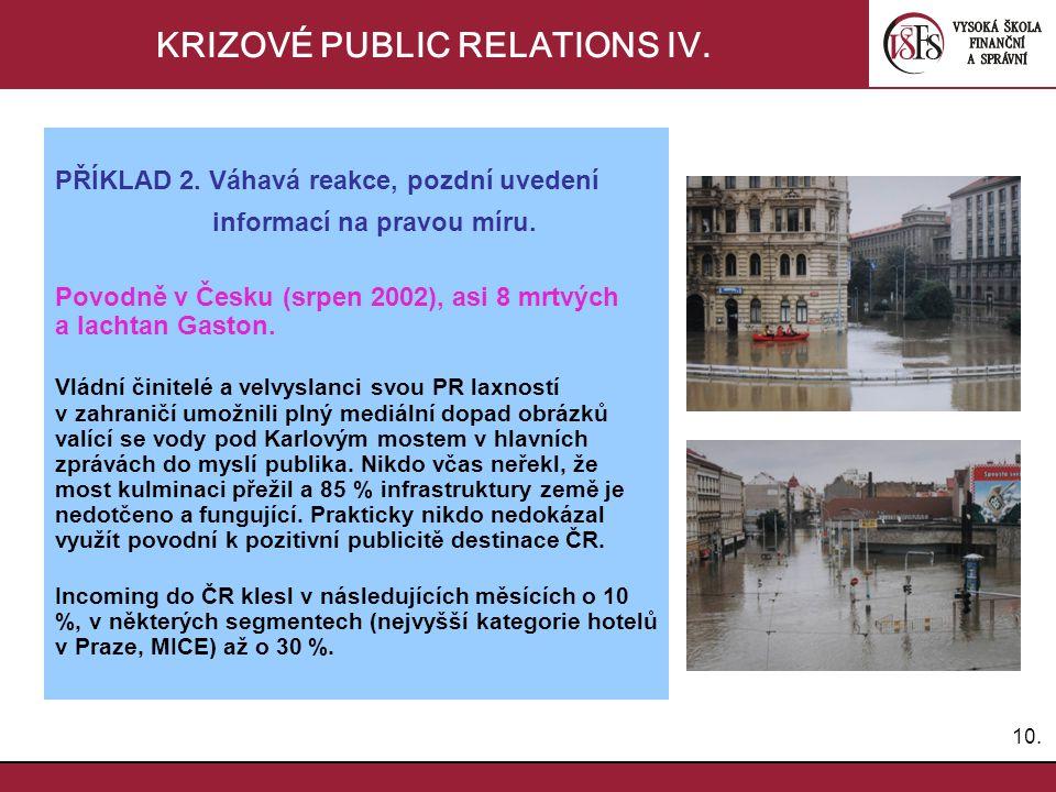10. KRIZOVÉ PUBLIC RELATIONS IV. PŘÍKLAD 2. Váhavá reakce, pozdní uvedení informací na pravou míru. Povodně v Česku (srpen 2002), asi 8 mrtvých a lach