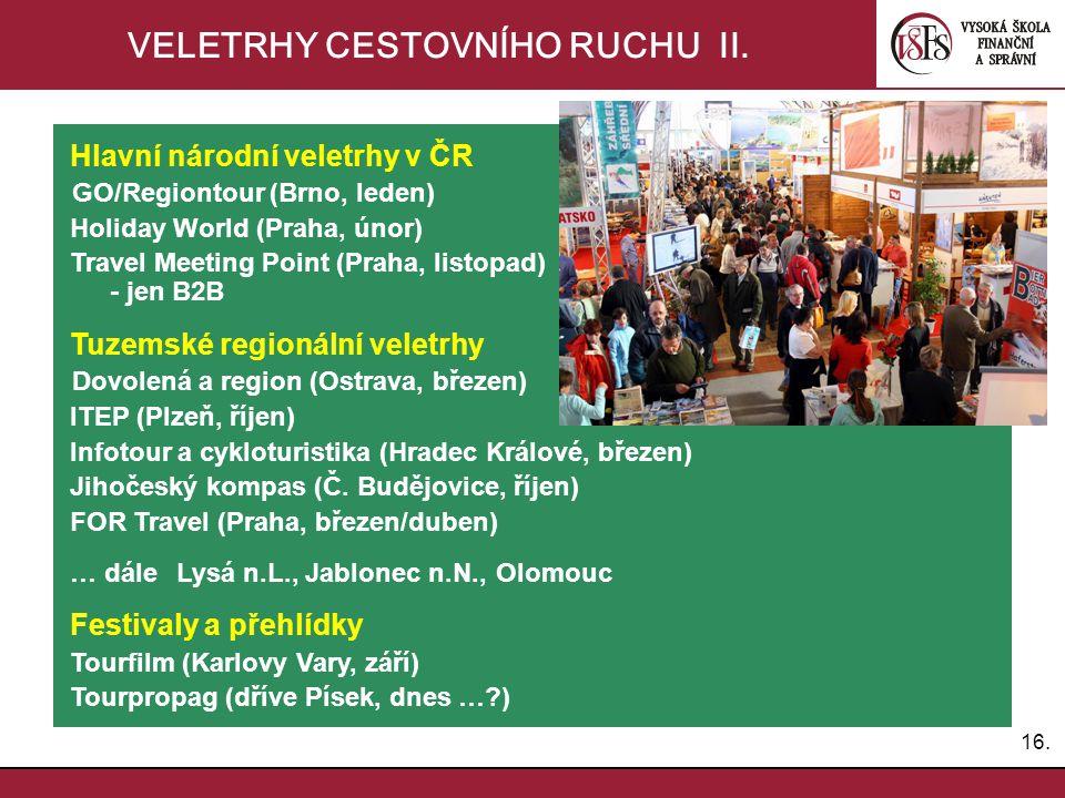 16. VELETRHY CESTOVNÍHO RUCHU II. Hlavní národní veletrhy v ČR GO/Regiontour (Brno, leden) Holiday World (Praha, únor) Travel Meeting Point (Praha, li