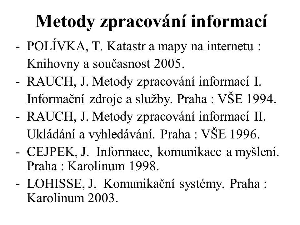 Metody zpracování informací -POLÍVKA, T. Katastr a mapy na internetu : Knihovny a současnost 2005. -RAUCH, J. Metody zpracování informací I. Informačn