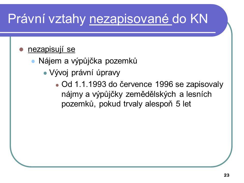 23 Právní vztahy nezapisované do KN nezapisují se Nájem a výpůjčka pozemků Vývoj právní úpravy Od 1.1.1993 do července 1996 se zapisovaly nájmy a výpů