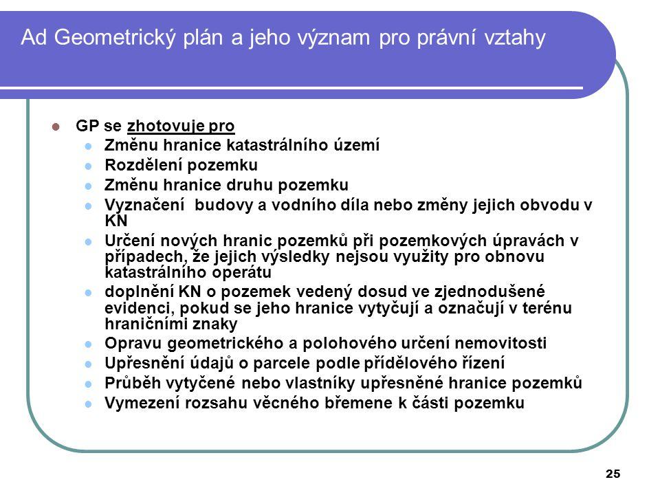 25 Ad Geometrický plán a jeho význam pro právní vztahy GP se zhotovuje pro Změnu hranice katastrálního území Rozdělení pozemku Změnu hranice druhu poz