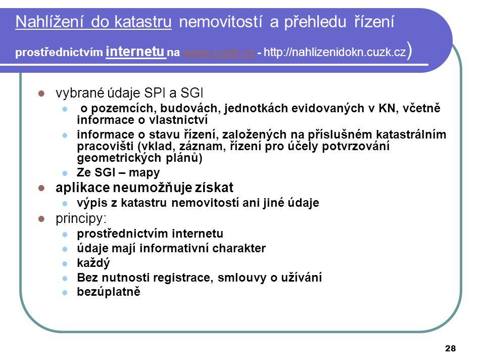 28 Nahlížení do katastru nemovitostí a přehledu řízení prostřednictvím internetu na www.cuzk.cz - http://nahlizenidokn.cuzk.cz )www.cuzk.cz vybrané úd