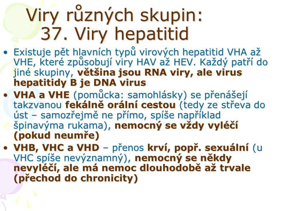Viry různých skupin: 37. Viry hepatitid Existuje pět hlavních typů virových hepatitid VHA až VHE, které způsobují viry HAV až HEV. Každý patří do jiné