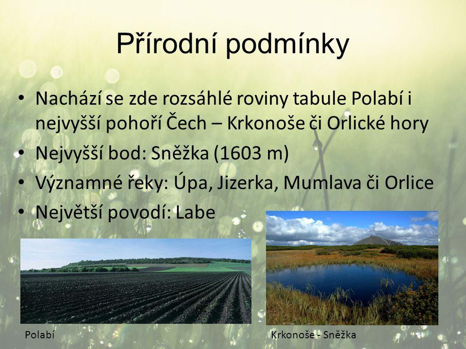 Přírodní podmínky Nachází se zde rozsáhlé roviny tabule Polabí i nejvyšší pohoří Čech – Krkonoše či Orlické hory Nejvyšší bod: Sněžka (1603 m) Významn