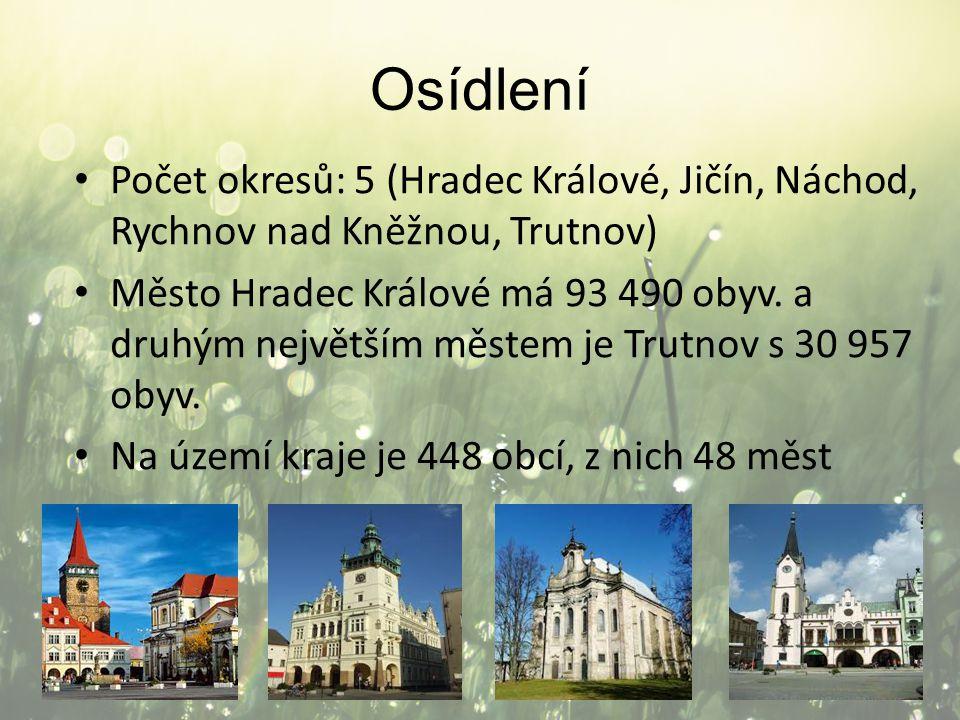 Osídlení Počet okresů: 5 (Hradec Králové, Jičín, Náchod, Rychnov nad Kněžnou, Trutnov) Město Hradec Králové má 93 490 obyv. a druhým největším městem