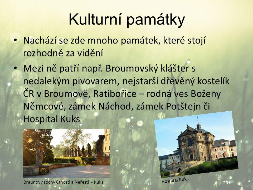 Kulturní památky Nachází se zde mnoho památek, které stojí rozhodně za vidění Mezi ně patří např. Broumovský klášter s nedalekým pivovarem, nejstarší
