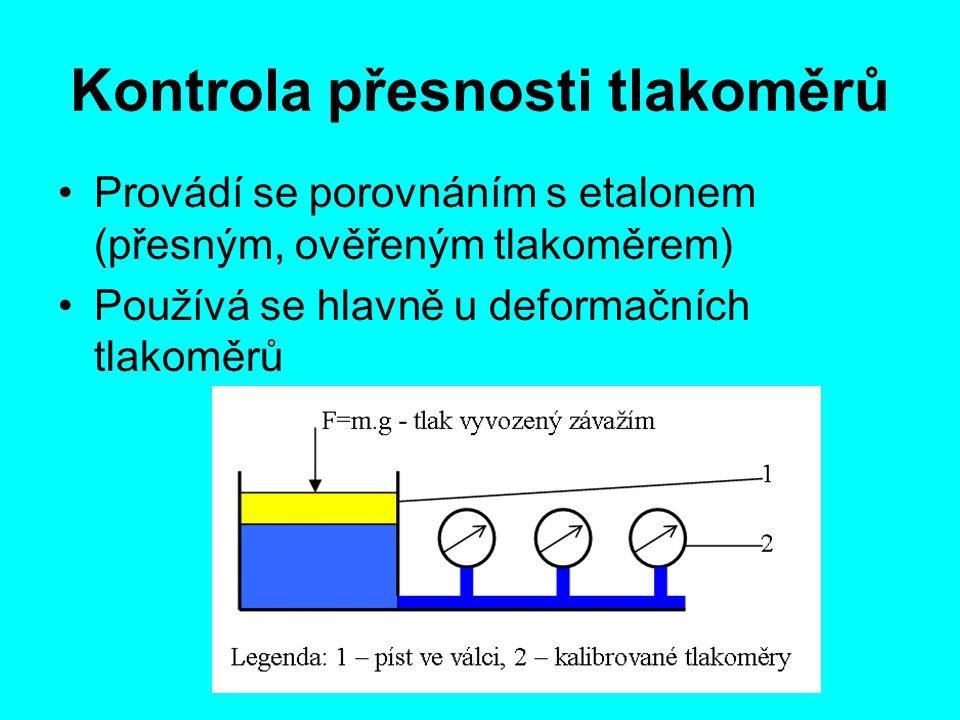 Kontrola přesnosti tlakoměrů Provádí se porovnáním s etalonem (přesným, ověřeným tlakoměrem) Používá se hlavně u deformačních tlakoměrů