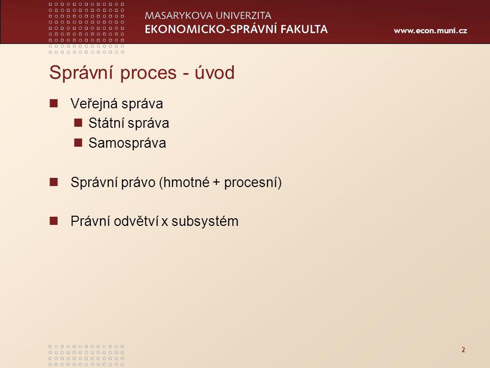 www.econ.muni.cz 2 Správní proces - úvod Veřejná správa Státní správa Samospráva Správní právo (hmotné + procesní) Právní odvětví x subsystém