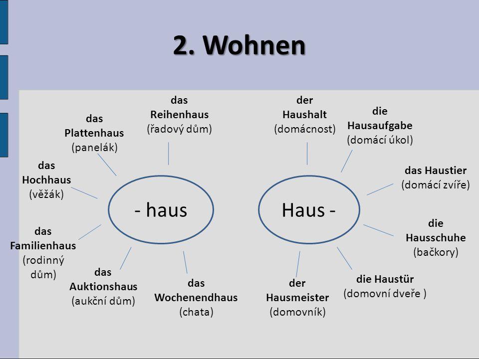 2. Wohnen Haus -- haus das Reihenhaus (řadový dům) das Plattenhaus (panelák) das Wochenendhaus (chata) das Familienhaus (rodinný dům) das Auktionshaus