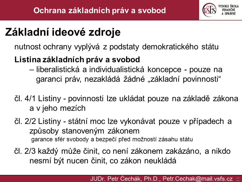 JUD r. Petr Čechák, Ph.D., Petr.Cechak @ mail. vsfs.cz :: Ochrana základních práv a svobod Základní ideové zdroje nutnost ochrany vyplývá z podstaty d