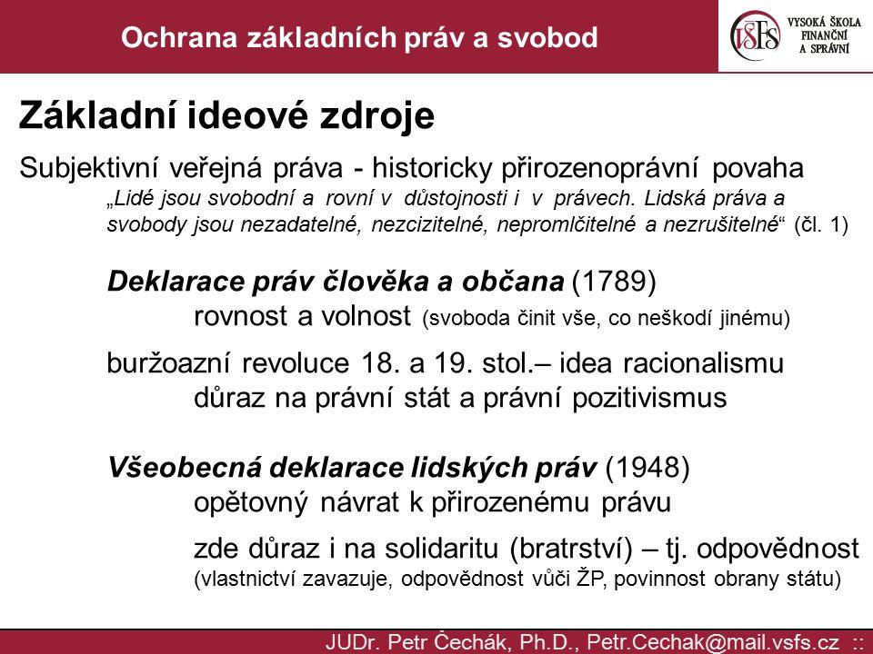 JUD r. Petr Čechák, Ph.D., Petr.Cechak @ mail. vsfs.cz :: Ochrana základních práv a svobod Základní ideové zdroje Subjektivní veřejná práva - historic
