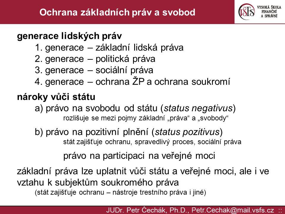 JUD r. Petr Čechák, Ph.D., Petr.Cechak @ mail. vsfs.cz :: Ochrana základních práv a svobod generace lidských práv 1. generace – základní lidská práva