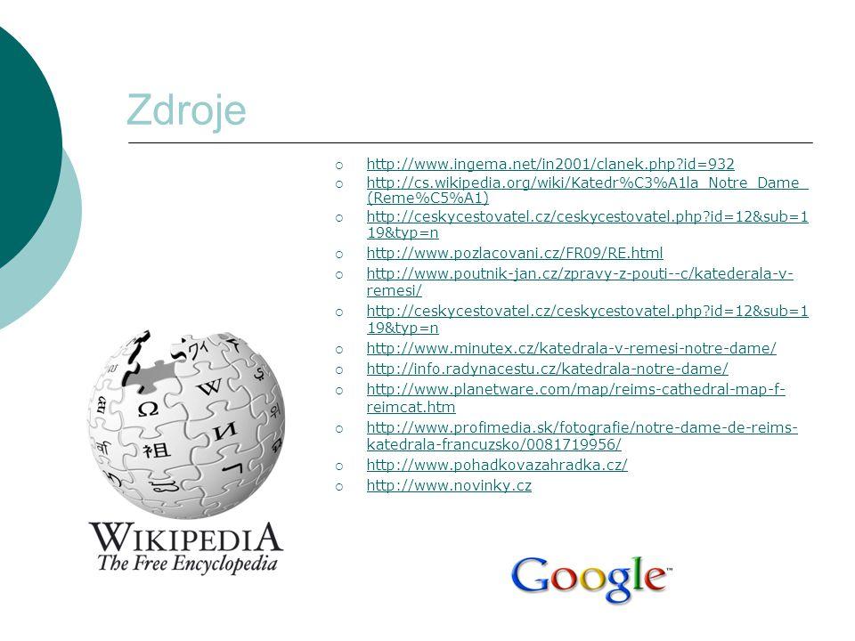 Zdroje  http://www.ingema.net/in2001/clanek.php?id=932 http://www.ingema.net/in2001/clanek.php?id=932  http://cs.wikipedia.org/wiki/Katedr%C3%A1la_N