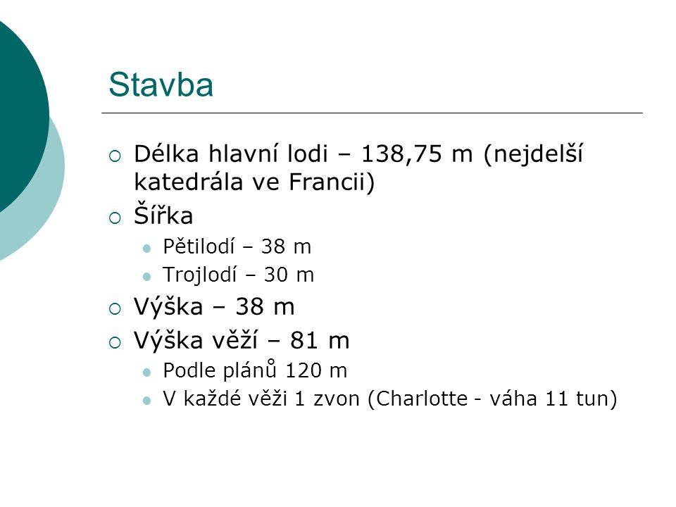 Stavba  Délka hlavní lodi – 138,75 m (nejdelší katedrála ve Francii)  Šířka Pětilodí – 38 m Trojlodí – 30 m  Výška – 38 m  Výška věží – 81 m Podle