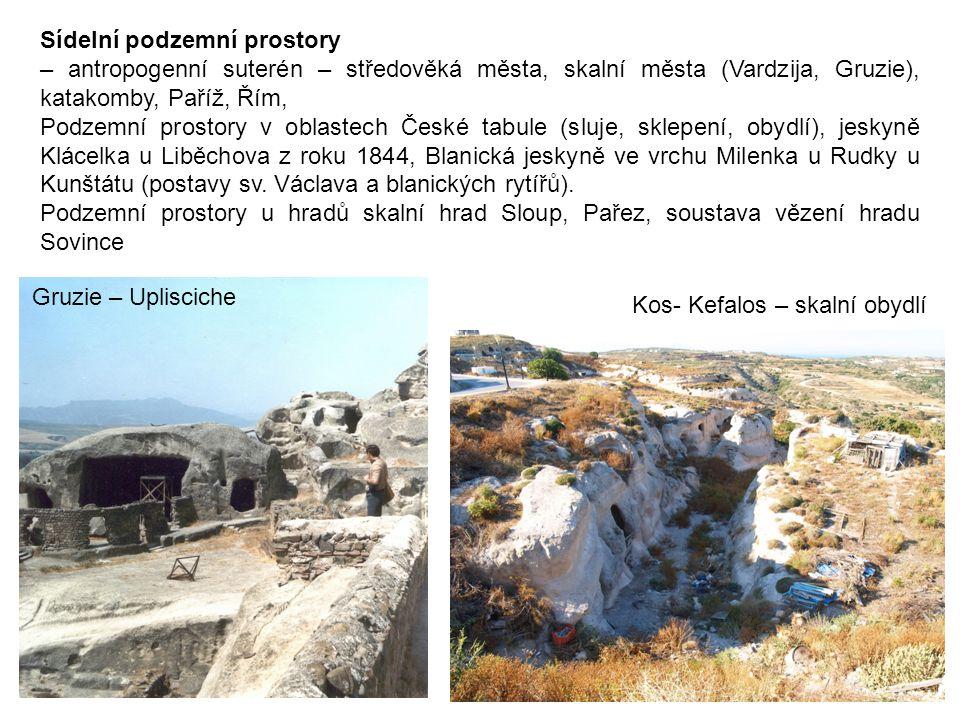 Sídelní podzemní prostory – antropogenní suterén – středověká města, skalní města (Vardzija, Gruzie), katakomby, Paříž, Řím, Podzemní prostory v oblas