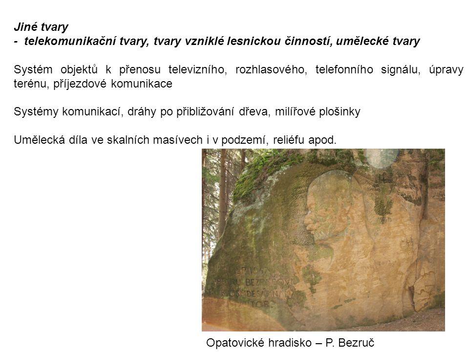 Jiné tvary - telekomunikační tvary, tvary vzniklé lesnickou činností, umělecké tvary Systém objektů k přenosu televizního, rozhlasového, telefonního s