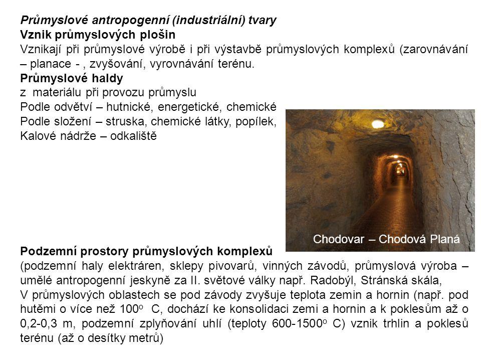 Sídelní podzemní prostory – antropogenní suterén – středověká města, skalní města (Vardzija, Gruzie), katakomby, Paříž, Řím, Podzemní prostory v oblastech České tabule (sluje, sklepení, obydlí), jeskyně Klácelka u Liběchova z roku 1844, Blanická jeskyně ve vrchu Milenka u Rudky u Kunštátu (postavy sv.