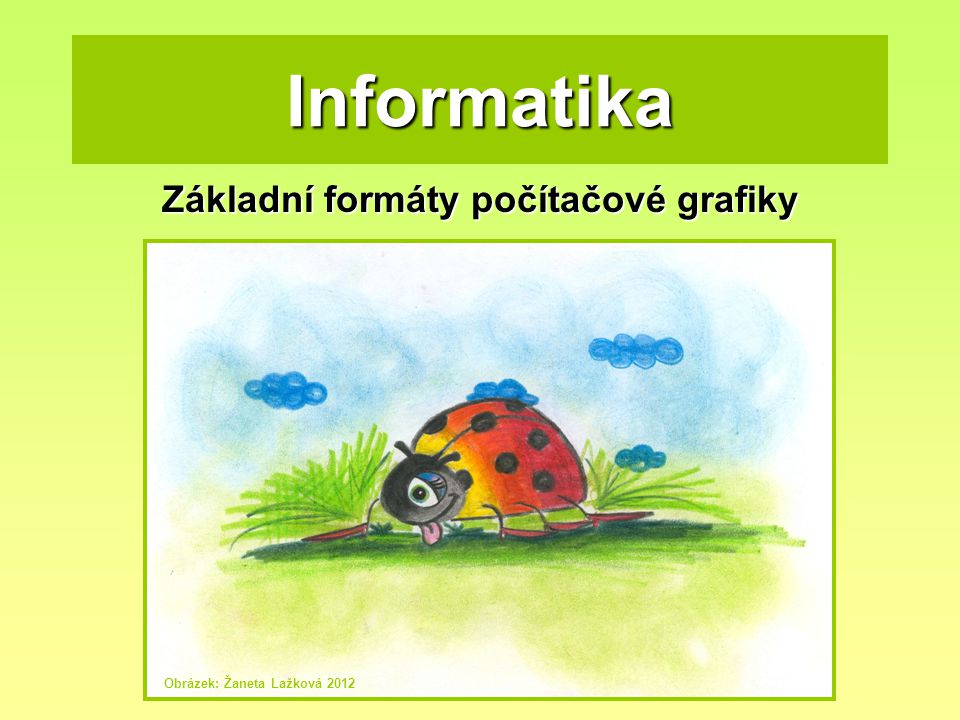 Informatika Základní formáty počítačové grafiky Obrázek: Žaneta Lažková 2012
