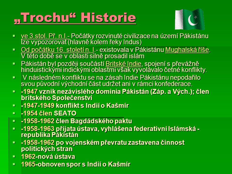 """""""Trochu"""" Historie  ve 3.stol. Př. n.l.- Počátky rozvinuté civilizace na území Pákistánu lze vypozorovat (hlavně kolem řeky Indus)  Od počátku 16. st"""