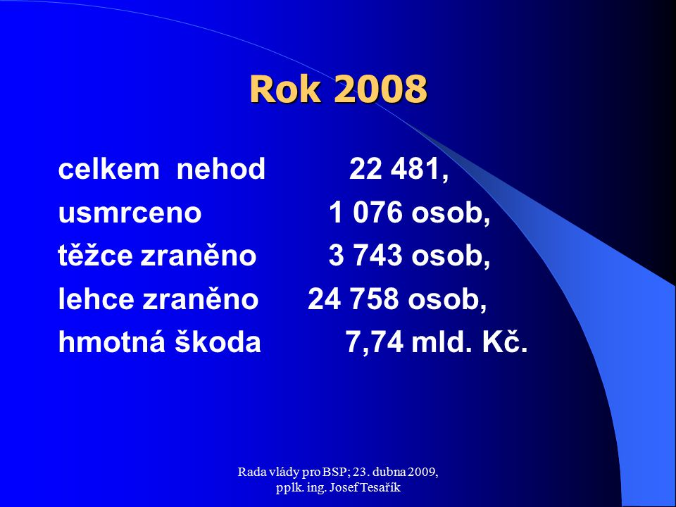 Rada vlády pro BSP; 23.dubna 2009, pplk. ing. Josef Tesařík počet nehod o 579, tj.