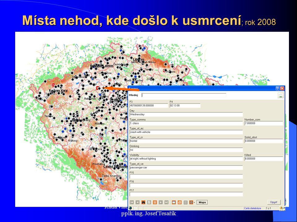 Místa nehod, kde došlo k usmrcení ; rok 2008